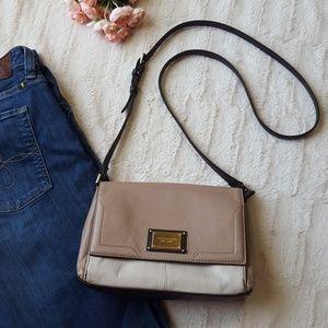 Tignanello leather crossbody purse tan cream brown